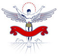 Angel wing man emblem Royalty Free Stock Images