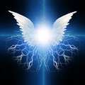 Angel winged with energetic electricity Stock Images