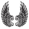 Wings Bird feather Black & White Tattoo Vector Illustration 88 Royalty Free Stock Photo