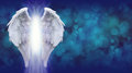 Angel Wings on Blue Bokeh Banner Royalty Free Stock Photo