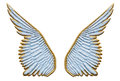 Angel wings gold and sky blue sculpted isolated on white Stock Photo