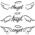 Angel wings icon sketch collection, religious calligraphic text symbol of Christianity hand drawn vector illustration Royalty Free Stock Photo