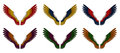 Angel wings pack assorted double colours illustration of a of six differently coloured red yellow orange blue purple and green on Royalty Free Stock Images