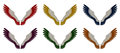 Angel wings pack assorted single colours illustration of a of six differently coloured red yellow orange blue purple and green on Stock Photo