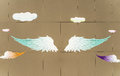 Angel wings painted on the wall illustration background Royalty Free Stock Photo