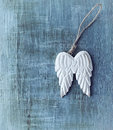 Angel wings wooden on apinted wood Stock Image