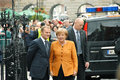 Angela Merkel and Donald Tusk Stock Images