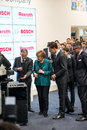 Angela merkel e mark rutte no hannover messe o de abril de Foto de Stock