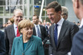 Angela merkel and mark rutte arriving at the hannover messe hanover germany april german chancellor dutch prime minister april Stock Image
