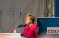 Angela merkel seligenstadt germany – august german federal chancellor made a election speech on august on the marketplace of Royalty Free Stock Photo