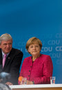 Angela merkel und volker bouffier seligenstadt germany – august prime minister of hessen and german federal chancellor made a Royalty Free Stock Photo