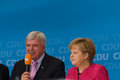Angela merkel and volker bouffier seligenstadt germany – august prime minister of hessen german federal chancellor made a Stock Photos