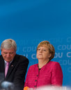 Angela merkel and volker bouffier seligenstadt germany – august prime minister of hessen german federal chancellor made a Stock Photography