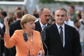 Angela Merkel and Waldemar Pawlak Stock Photography