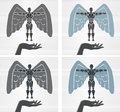 Angelic robot icon of a with an angel s wings Stock Images