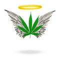 Angelic weed marijuana leaf with wings and halo Stock Images