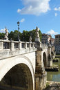 Angels bridge over the river tiber in rome italy Royalty Free Stock Photos