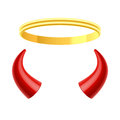 Angels halo and devils horns illustration Stock Photo