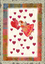 Angels with heart greeting card for valentine s day watercolor illustration Stock Images