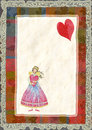 Angels with heart greeting card for valentine s day watercolor illustration Stock Photo