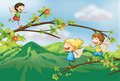 Angels playing in the woods illustration of Royalty Free Stock Images