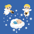 Angels with stars and baby sleeping on the cloud cute Stock Photo