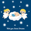 Angels with stars and baby sleeping on the cloud cute i wish you sweet dreams Stock Photography