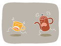 Anger management coffee cup running from heated pot Stock Images