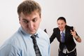 Anger two young caucasian office worker get mad Royalty Free Stock Image