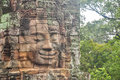 Angkor Bayon face Siem Reap, Cambodia. Royalty Free Stock Photo
