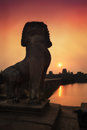 Angkor lion sunrise siem reap wat at Royalty Free Stock Photography