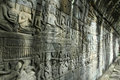 Angkor wat bayon wall of stories area temple a with the series buddhism being recorded on the sand stones Stock Images