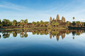 Angkor wat cambodia reflection in late afternoon in siem reap Royalty Free Stock Photos