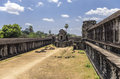 Angkor wat open separation compound between level siem reap cambodia april ground the two levels of the temple Royalty Free Stock Photo