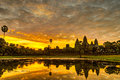 Angkor wat status silhouette of in sunrise the best time in the morning at siem reap cambodia Royalty Free Stock Images