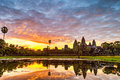 Angkor wat status silhouette of in sunrise the best time in the morning at siem reap cambodia Royalty Free Stock Photos
