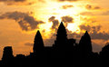Angkor Wat temple silhouette Royalty Free Stock Images