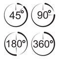 Angle 45 90 180 360 degrees icons. Royalty Free Stock Photo