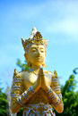 Angle statue in public buddhist temple are showing respect to the buddha locations Royalty Free Stock Images