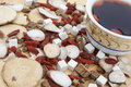 Angle view chinese herbs blends and herb tea Royalty Free Stock Photo