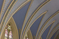 Angled blue flying buttress in a catholic church Royalty Free Stock Image