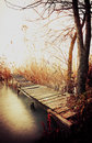 Angler pier in autumn time at lake balaton hungary Stock Photography