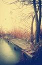 Angler pier at lake balaton hungary in autumn time old photo Stock Photos