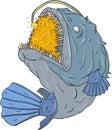 Anglerfish Swooping up Lure Drawing