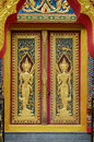 Angles on the door in buddhist temple Stock Images