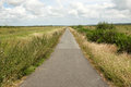 Anglesey cycle track a tarmac leads through marshland lon cyfni wales uk Royalty Free Stock Images