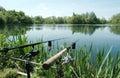 Angling or freshwater fishing at a lake norfolk uk Stock Image
