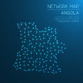 Angola network map. Royalty Free Stock Photo