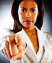 An angry African American business woman Stock Image
