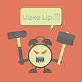 Angry alarm clock with hammer for awaken sleepyhead Royalty Free Stock Image